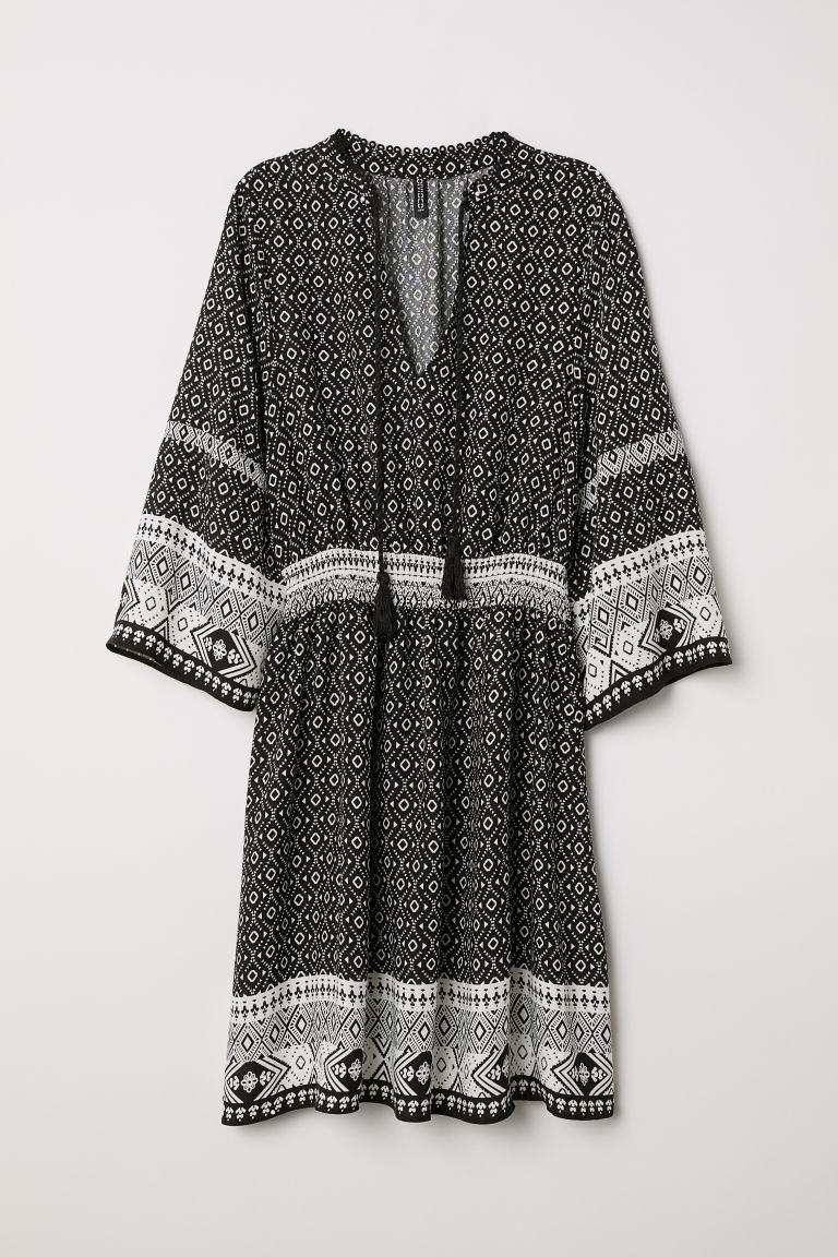 Dress with ties - Black/White patterned -  | H&M