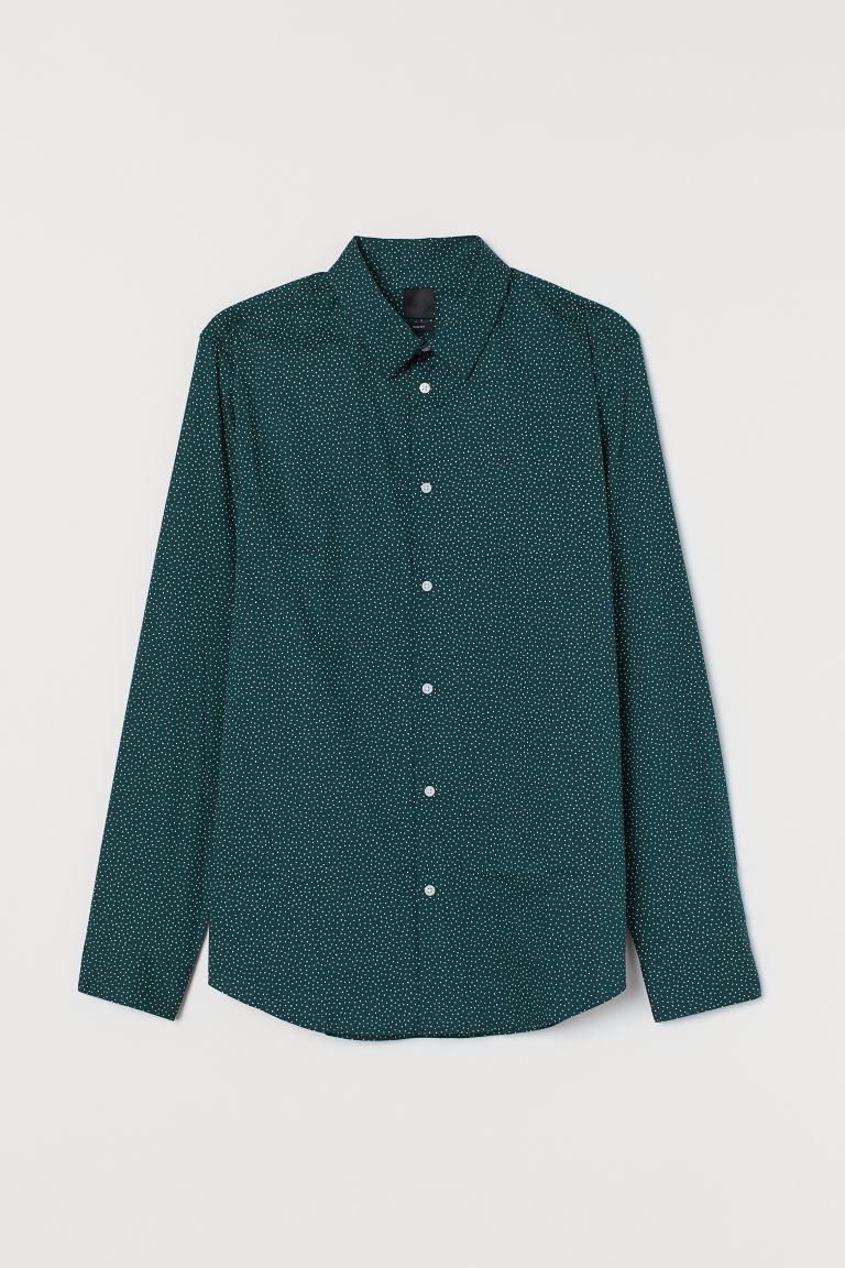 Slim Fit Stretch Shirt - Dark green/white dotted - Men | H&M US