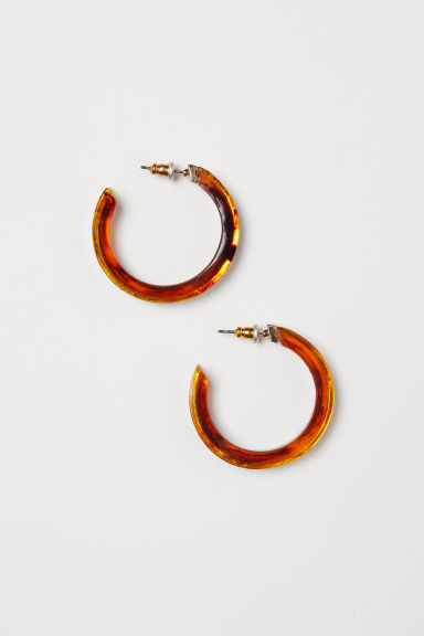 Hoop earrings - Gold-colour/Tortoise pattern - Ladies | H&M CN