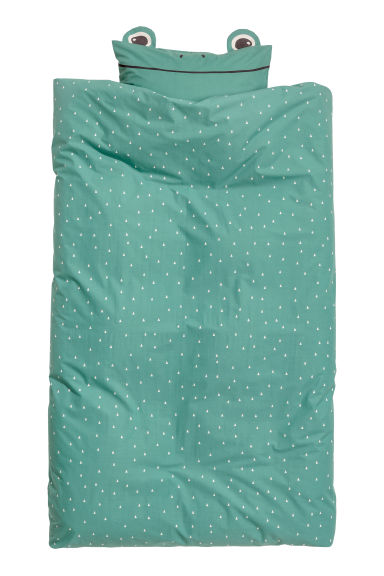 Patterned duvet cover set - Light green/Triangles -  | H&M GB