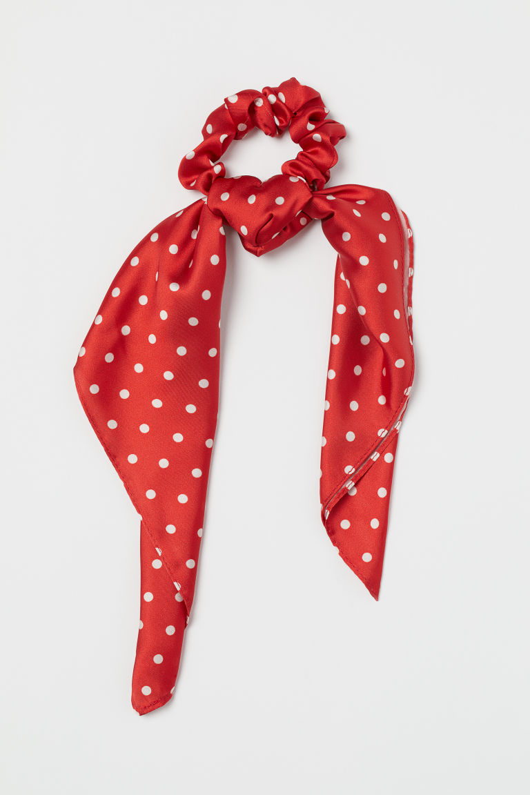 Scrunchie with ties - Red/White spotted -  | H&M