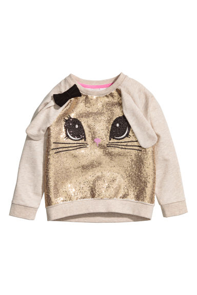 Sweat-shirt pailleté - Beige chiné/lapin -  | H&M BE