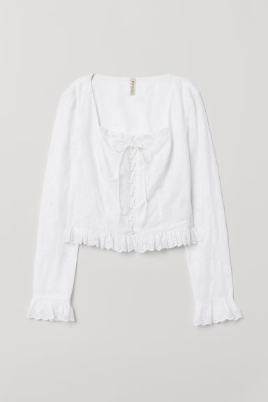 Bloes met broderie anglaise - Wit - DAMES | H&M BE