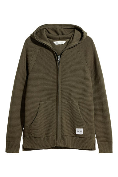 Knitted hooded jacket - Dark khaki green - Kids | H&M CN