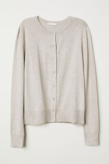 Fine-knit cardigan - Light beige marl - Ladies | H&M CN