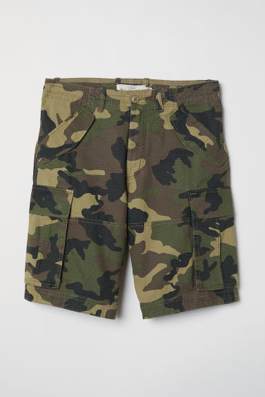 Cotton twill cargo shorts - Khaki green/Patterned - Men | H&M