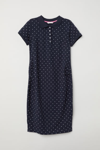 MAMA Piqué dress - Dark blue/Spotted - Ladies | H&M CN