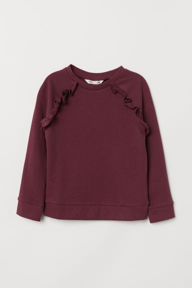 Sweatshirt with frills - Burgundy - Kids | H&M