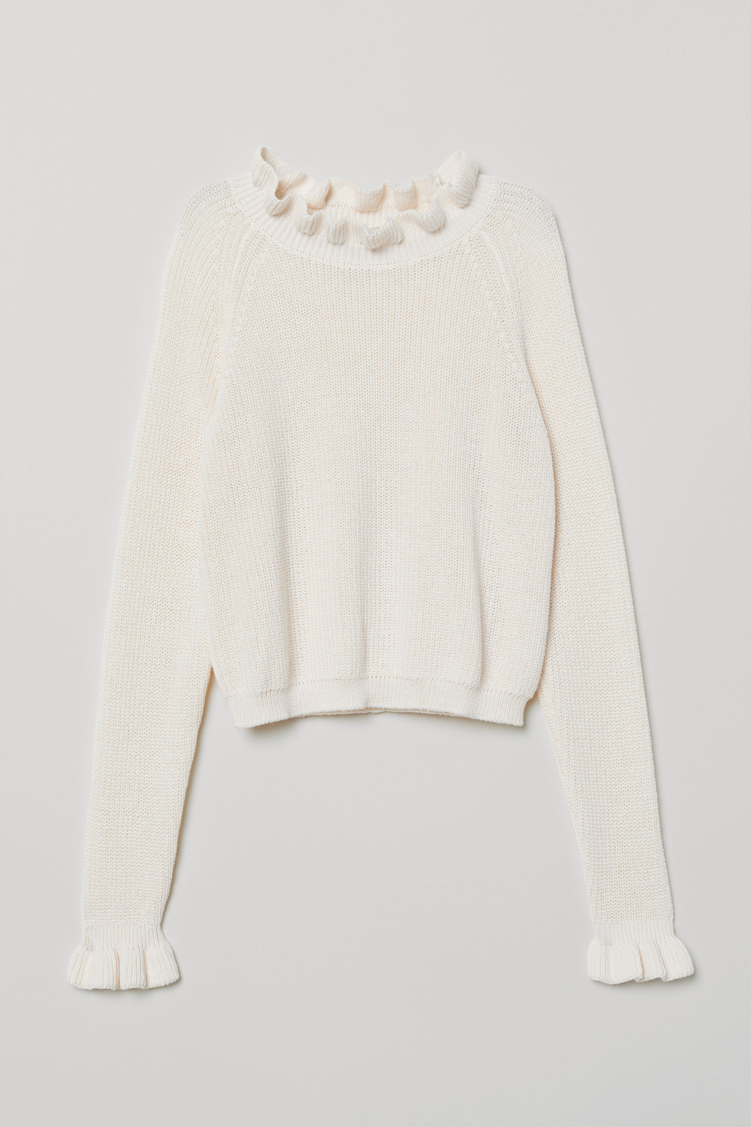 0eb26a371a8 Knitted frill-trimmed jumper - Natural white -