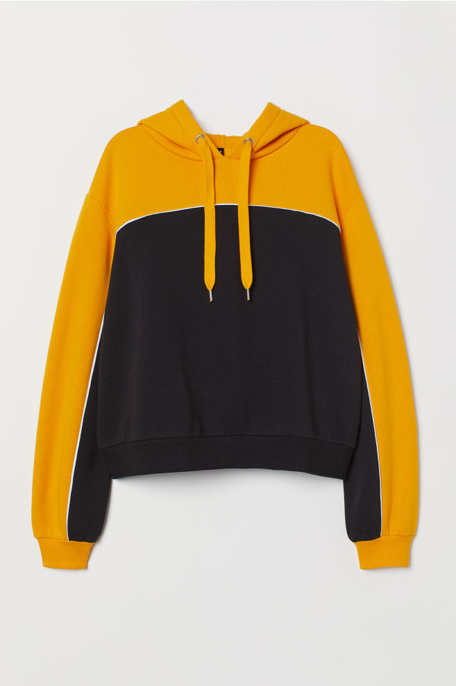 a6a3342a3422 Hooded Sweatshirt - Mustard yellow/color-block - | H&M ...