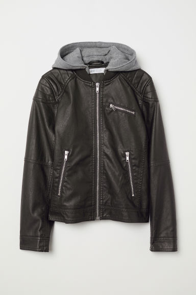Hooded biker jacket - Black - Kids | H&M