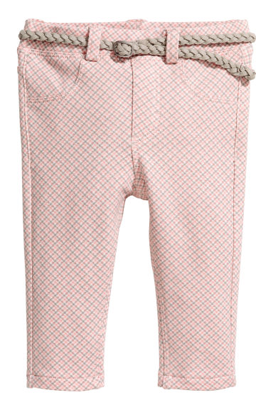 Trousers with a belt - Light pink -  | H&M