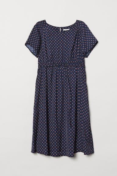 MAMA Jacquard-weave dress - Dark blue/Patterned - Ladies | H&M CN