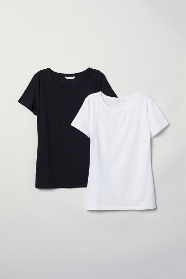 2-pack jersey tops - Black/White - Ladies | H&M