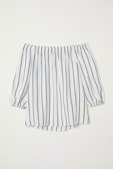 Off-the-shoulder blouse - White/Blue striped - Ladies | H&M CN