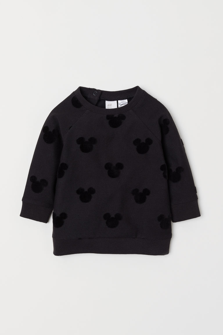 Sweatshirt with a motif - Black/Mickey Mouse - Kids | H&M