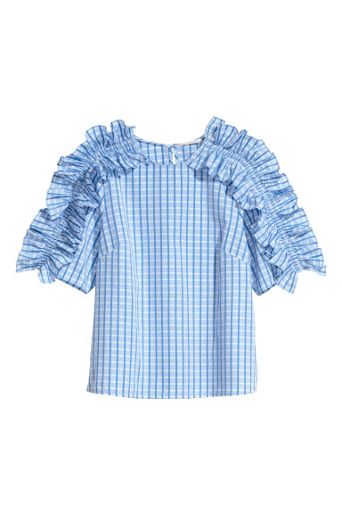 Frilled blouse - Light blue/Checked -  | H&M GB