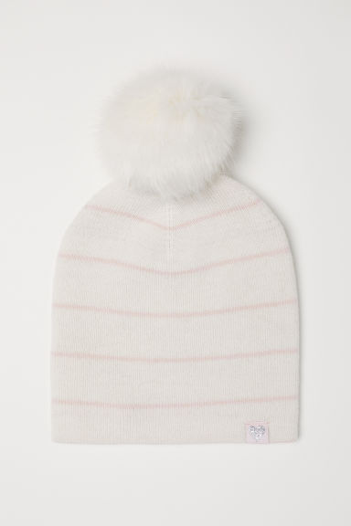 Fine-knit wool hat - Natural white/Pink striped -  | H&M