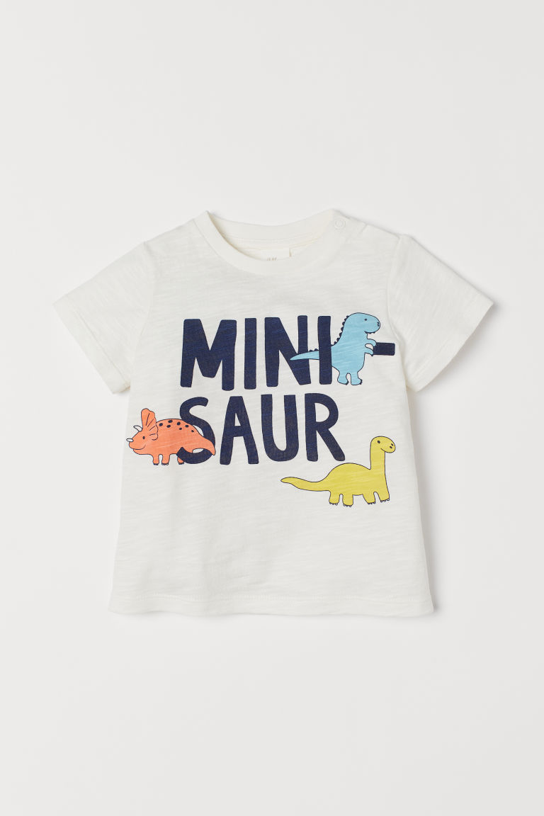 Cotton T-shirt - Natural white/minisaurs - Kids | H&M US