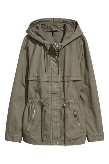 Short parka with a hood - Khaki green -  | H&M