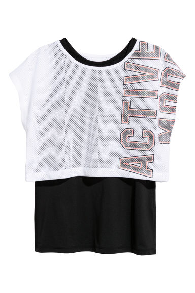 Double-layered sports top - White/Black - Kids | H&M