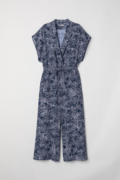 Ankle-length jumpsuit - Dark blue/Patterned - Ladies | H&M