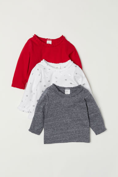 3-pack jersey tops - White/Snowflakes - Kids | H&M