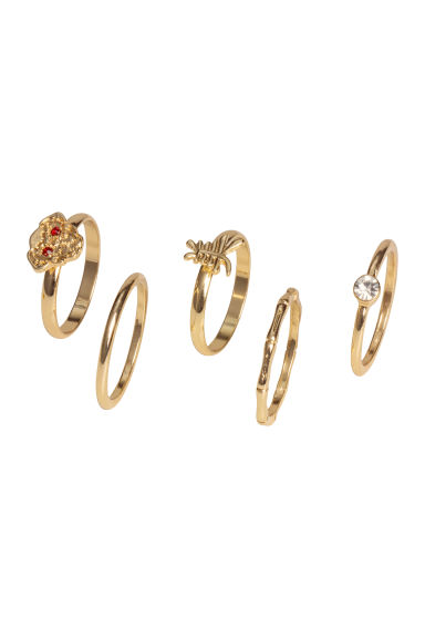 5-pack rings - Gold-coloured - Ladies | H&M