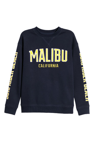 Sweatshirt with a print motif - Dark blue -  | H&M