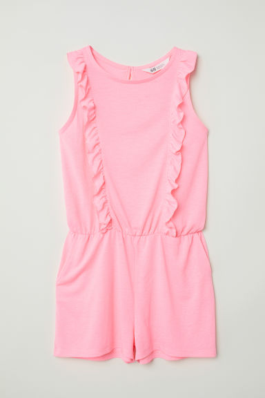 Playsuit with frills - Neon pink -  | H&M