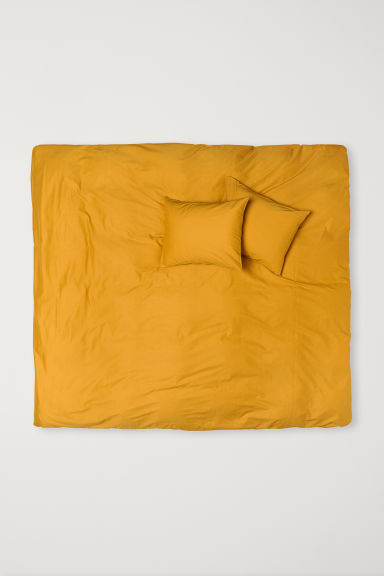 Cotton Duvet Cover Set - Dark yellow - Home All | H&M CA