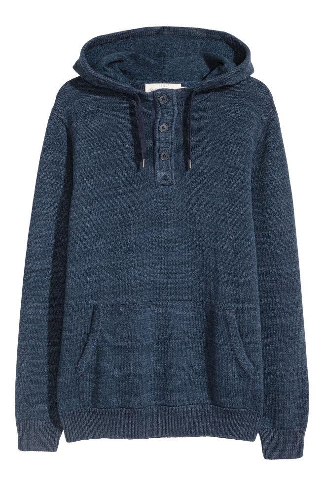 0536e85836 Cienki sweter z kapturem - Niebieski melanż - ON