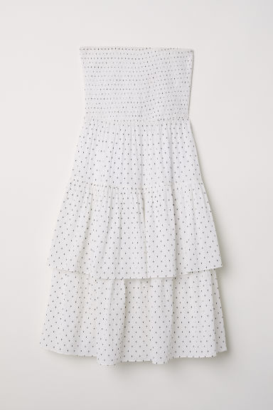 Strapless flounced dress - White/Black spotted - Ladies | H&M