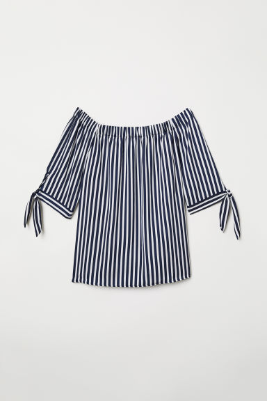 Off-the-shoulder blouse - Dark blue/Striped - Ladies | H&M