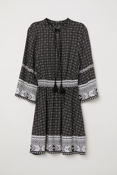 Dress with ties - Black/Patterned -  | H&M CN