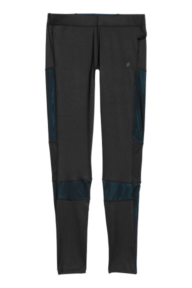 Running tights - Black/Turquoise -  | H&M IE