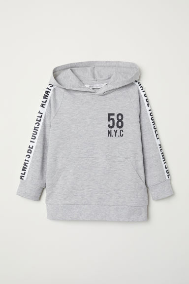 Hooded top - Light grey/N.Y.C - Kids | H&M