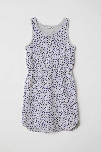 Sleeveless jersey dress - Light grey/Patterned - Kids | H&M CN