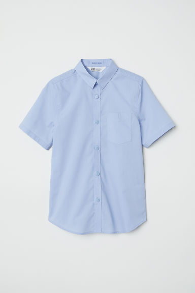 Short-sleeved easy-iron shirt - Light blue - Kids | H&M CN