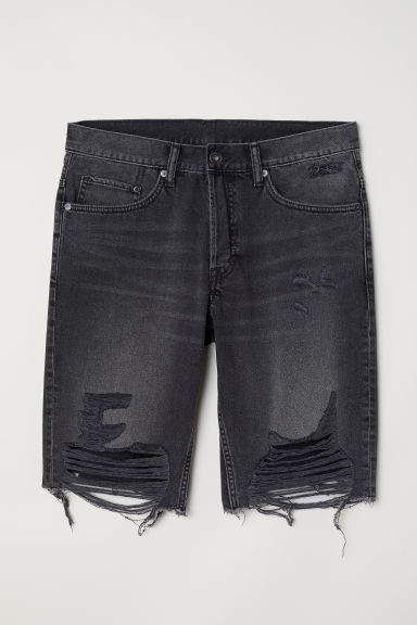 Vaquero corto Straight Long - Gris oscuro/Trashed -  | H&M ES
