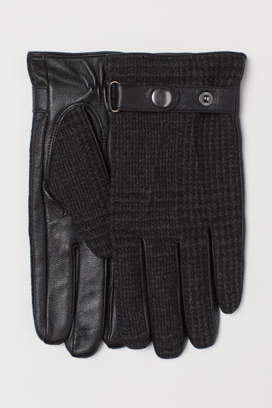 Leather and wool-blend gloves - Black/Checked - Men | H&M