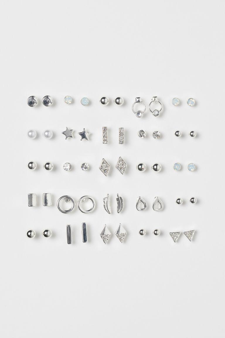 25 pairs Stud Earrings - Silver-colored - Ladies | H&M US 1