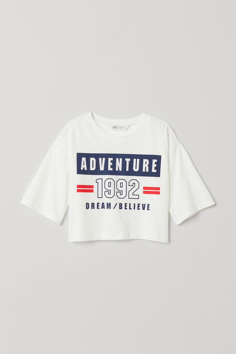 印花短上衣 - 白色/Adventure - Kids | H&M CN
