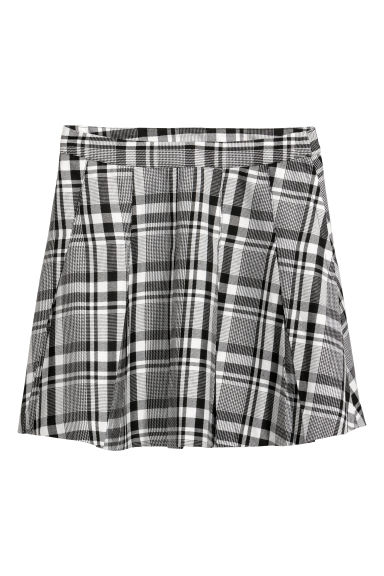 Pleated skirt - Black/White checked -  | H&M