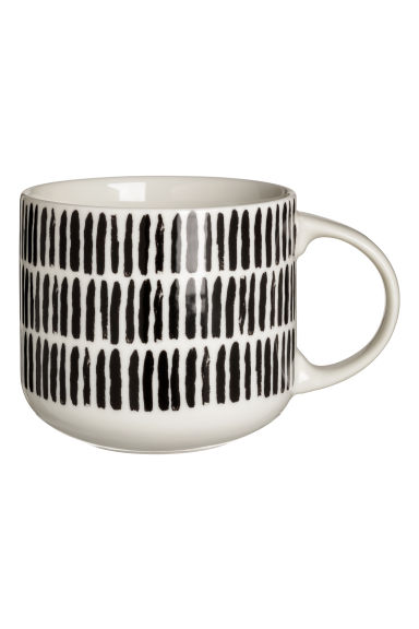 Porcelain mug - White/Black striped - Home All | H&M CN