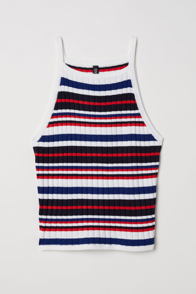 Ribbed strappy top - White/Multicoloured stripes - Ladies | H&M CN