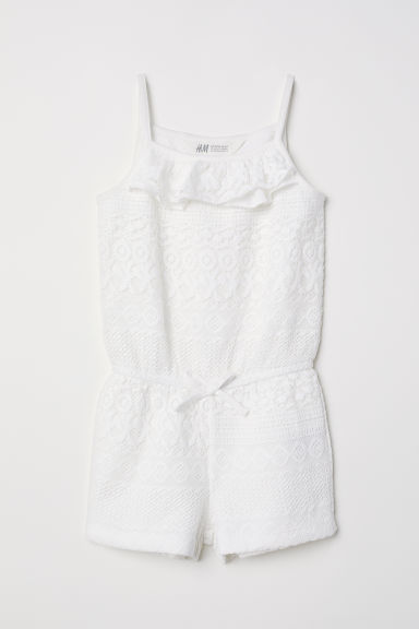 Kanten playsuit - Roomwit - KINDEREN | H&M BE