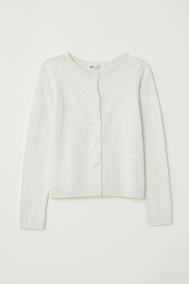 Fine-knit cardigan - Natural white/Marled - Kids | H&M