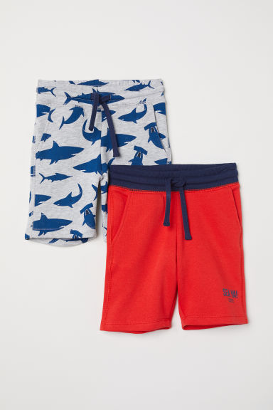 2-pack sweatshirt shorts - Light grey/Sharks - Kids | H&M