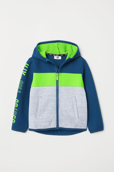 Hooded sports jacket - Dark blue/Block-coloured - Kids | H&M CN